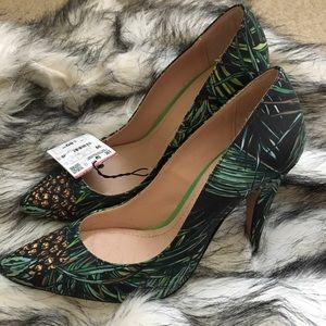 Zara Green Tropical Stiletto Heels NWT